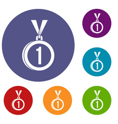 Medal for first place icons set vector