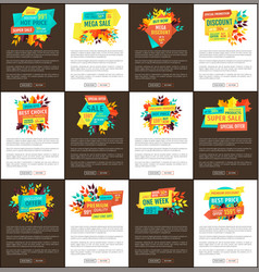 mega sale and seasonal discount for autumn set vector image