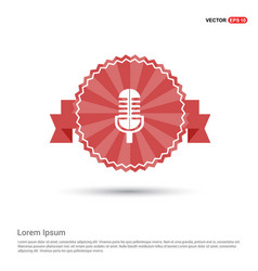 Microphone icon - red ribbon banner vector