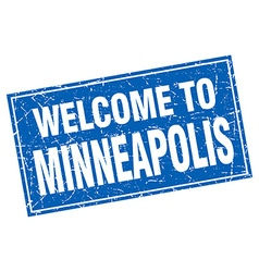 Minneapolis blue square grunge welcome to stamp vector