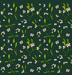 Mistletoe floral seamless pattern vector