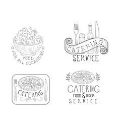 Monochrome insignias for catering companies hand vector