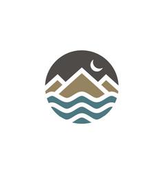 mountain island sea moon adventure logo vector image