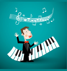 music design with abstract piano keyboards staff vector image