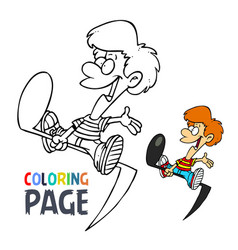 music tone and kids cartoon coloring page vector image