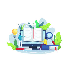 online reading and online library concept vector image