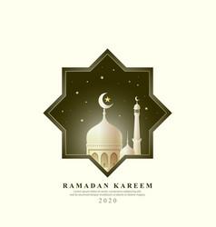 ramadan kareem with mosque background vector image