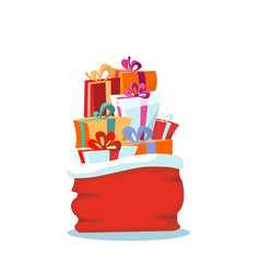 red santa claus bag with christmas presents on vector image