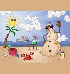Sand snowman cartoon character on a tropical beach vector