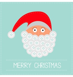 Santa Claus face with button beard Merry Christmas vector