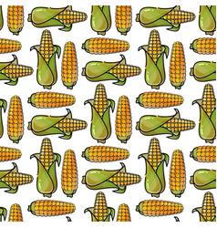 seamless pattern with cartoon corn vector image