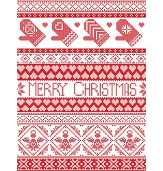 Seamless Tall xmas pattern with MITTENS vector image