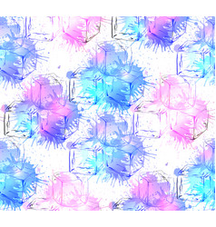 seamless texture with hand drawn ice cubes and vector image