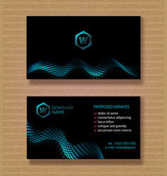set business card template for a company with a vector image