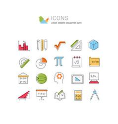 Set line icons mathematics vector