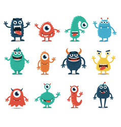 Set monsters isolated on white background vector