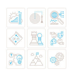 set of business icons and concepts in mono thin vector image