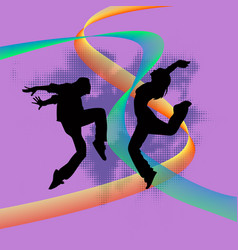 set of dancers silhouette vector image