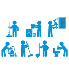 Set of icon cleaning with figure people vector