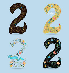 Set of numbers two with country floral decor vector