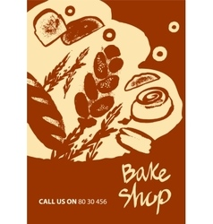 Set of of bread for menu bake shop vector image