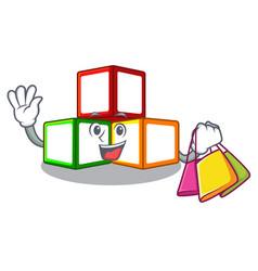 shopping toy blocks cube blank cartoon wooden vector image