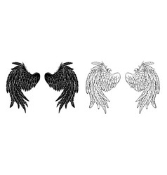 Silhouette wings vector