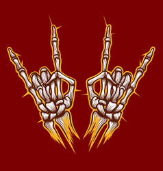 Skeleton bones hands rock music sign vector
