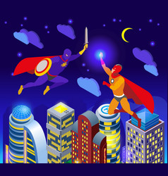 super heroes isometric composition vector image