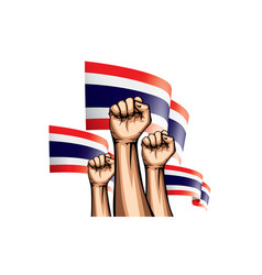 Thailand flag and hand on white background vector