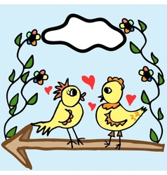 Two painted birds vector image