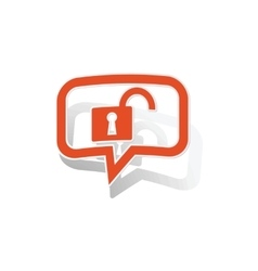 Unlocked message sticker orange vector