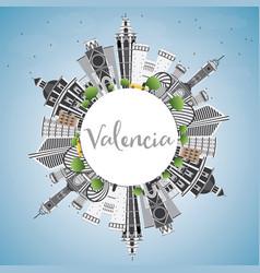 Valencia skyline with gray buildings blue sky and vector