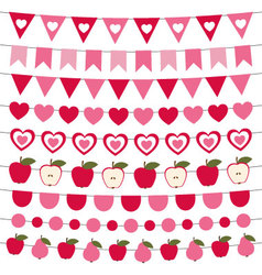 Valentines day bunting and decoration set vector
