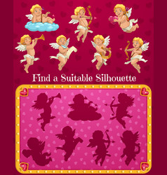 Valentines day kids find suitable silhouette game vector