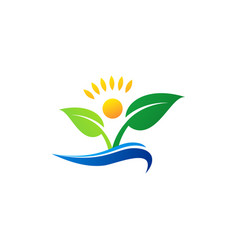 wellness people logo icon symbol concept plant vector image