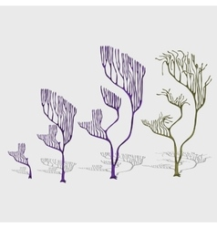Whimsical trees corals with shade decoration vector