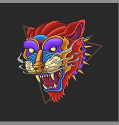 wild animal tiger head colorful vector image