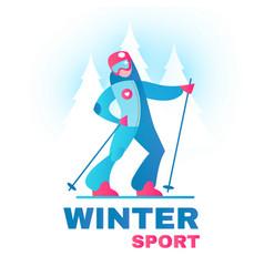 winter sport label man alpine slier in forest vector image