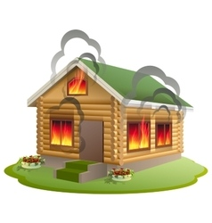 Wooden house fire Wooden home burning Insurance vector