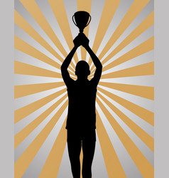 young sport winner on gold silver background vector image