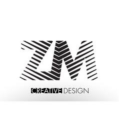 Zm z m lines letter design with creative elegant vector