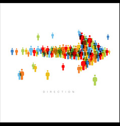 direction arrow made from people icons vector image
