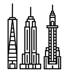 new york skyline line icon sign vector image
