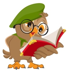 Owl reading book scout vector image vector image