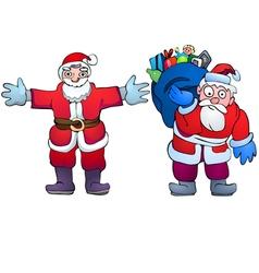 Santa Claus with gifts and hugging Santa vector image