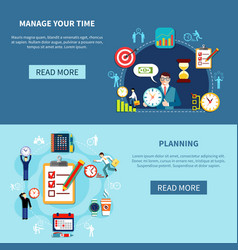 time management banners set vector image vector image