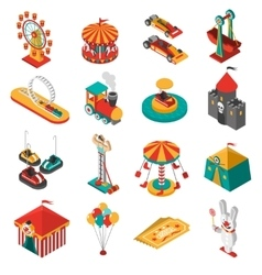 Amusement Park Isometric Icons Collection vector image vector image