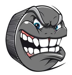 Angry hockey puck mascot vector image