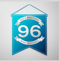 blue pennant with inscription ninety six years vector image